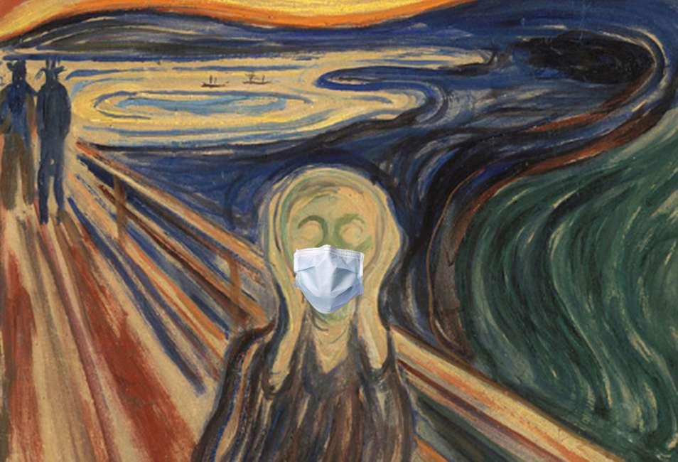 urlo di Munch con la mascherina